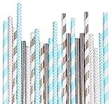 Bash artículos para fiesta 100614Disco Diamante pajitas de papel, azul pastel