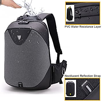 GinCuky Laptop Briefcase Backpack 3 Way Convertible Shoulder Messenger Bag Business Anti-Theft Backpack 15.6 Inch for Student, College, Work