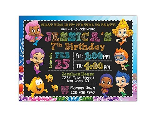 Custom Bubble Guppies Birthday Party Invitations for Kids,