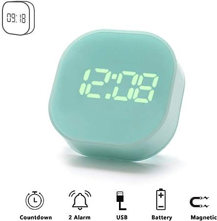 Petit Cube Réveil Matin Numérique Alarm Clock Digital LED Enfant Fille avec Fonction Countdown Timer Minuterie de Cuisine, 2 Paramètres Alarme,