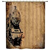 iPrint Shower Curtain,Steam Engine,Antique Old Iron Train Aged Sepia Grunge Style Design Industrial Theme Artsy Print,Brown,Polyester Shower Curtains Bathroom Decor Sets with Hooks