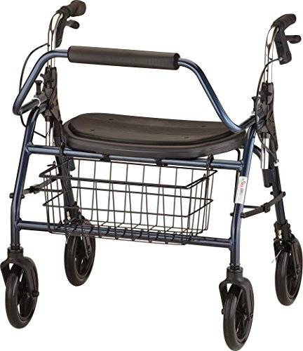 NOVA Mighty Mack Heavy Duty Rollator Walker 500 lb Weight Capacity, Blue (Bariatric Rollator)