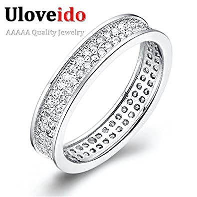 Laprapha White Gold Plated Rings for Women Simulated Diamond Jewelry with Micro Pave Fashion Ring Anillos