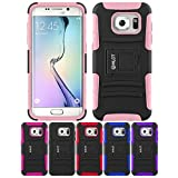 Galaxy S7 Edge Case, HLCT Rugged Shock Proof Dual-Layer Case with Built-In Kickstand for Samsung Galaxy S7 Edge (2016) (Pink)