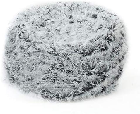 Christopher Knight Home Lycus Faux Fur Bean Bag Chair Silver Grey
