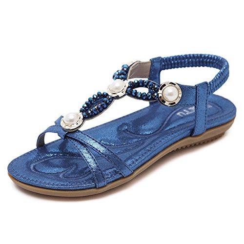 Mujer Verano Boho Zapatos Romanas Bohemia Bolas Sandalias Chanclas Black De Playa Para De tB5WqS