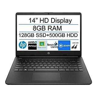 2020 Newest HP 14 Inch Premium Laptop, AMD Athlon Silver 3050U up to 3.2 GHz(Beat i5-7200U), 8GB DDR4 RAM, 128GB SSD+500GB HDD, Bluetooth, Webcam,WiFi,Type-C, HDMI, Windows 10 S, Black + Laser HDMI