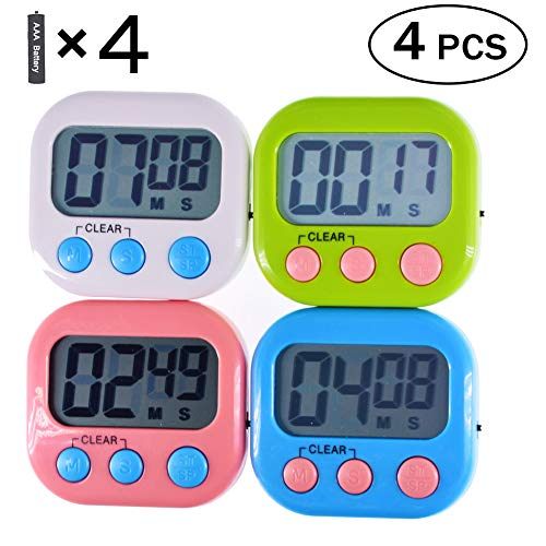 Digital Kitchen Timer with Loud Alarm Large LCD Display Magnetic Back and Stand Minute and Second Countdown and Countup for Cooking Baking Exercise Timer (4 Pack )