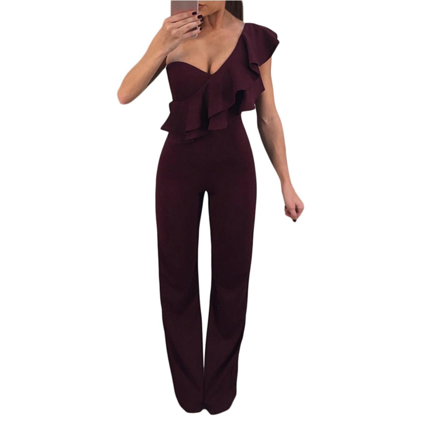 2eb8985b760b Amazon.com  KHGYSJ Women Long Pants Sexy Elegant Jumpsuits Wide Legs Rompers  Womens Casual Jumpsuit  Clothing