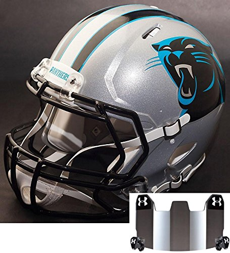 Panthers Riddell Helmet Carolina Replica (Riddell Speed CAROLINA PANTHERS NFL REPLICA Football Helmet with S2BD Football Helmet Facemask/Faceguard and MIRRORED Eye Shield/Visor)