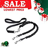 Double Dog Leash - Double Dog Leash Coupler Uarter Pet Supplies for Dog Training Leash with Retractable Soft Grip Rubber Handle, Reflective Stitching