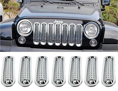 Sunroadway® Chrome Front Grill Mesh Grille Insert Kit For Jeep Wrangler Rubicon Sahara Jk 2007-2015 7PC