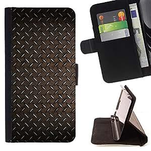 - IRON WALLPAPER PATTERN RUSTIC PLATE METAL - - Prima caja de la PU billetera de cuero con ranuras para tarjetas, efectivo desmontable correa para l Funny HouseFOR LG G2 D800
