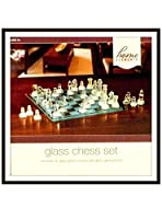 Home Elements Glass Chess Set - Clear and Frosted Pieces