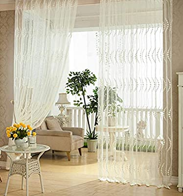White Floral Embroidered Sheer Curtains Rod Pocket Window Voile Treatments for Living Room & Kitchen