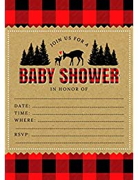 Woodland Rustic Lumberjack Flannel Deer 5x7 Baby Shower Invites (24 ct) with White Envelopes BOBEBE Online Baby Store From New York to Miami and Los Angeles