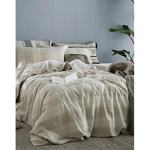 Lausonhouse 100% Linen Duvet Cover Set - King - Cream Stripe for sale