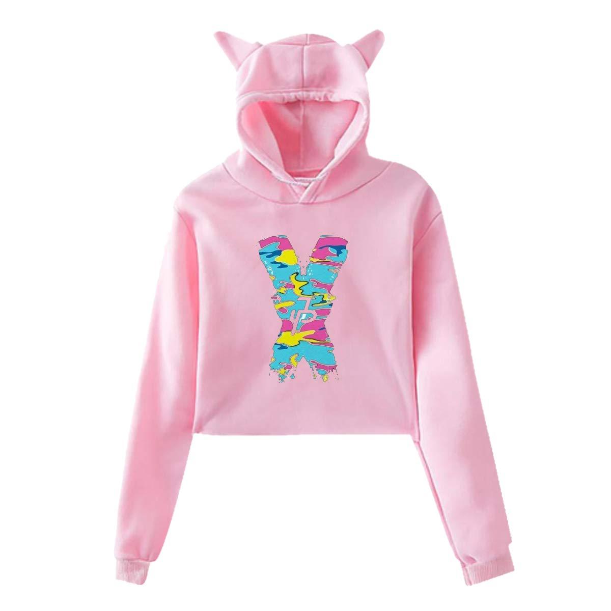 Womens Cat Ear Pullover Hoodie Jake Paul X JP Hooded Sweatshirt Hoodies for Women Girls Clothes Outdoor Sport Coat Tops Pink 29