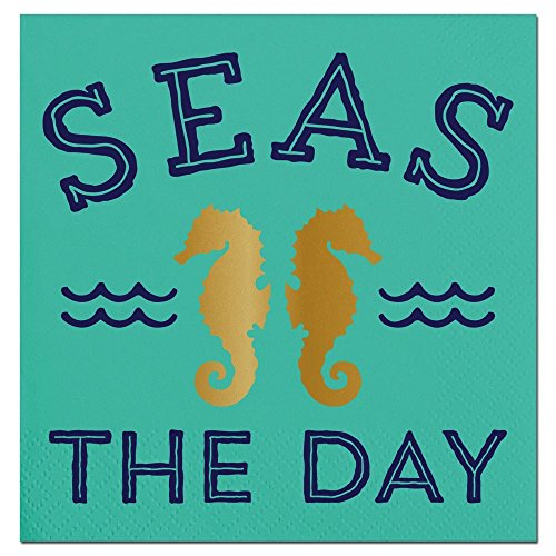 20ct Seas The Day Beverage Napkin F146696 Slant - Beverage Collection Napkins