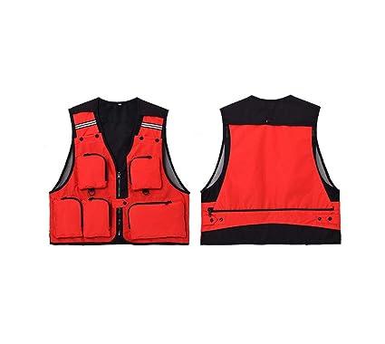 ADream Ligero Hombre Multi Bolsillos Chaleco de Pesca Práctico Chaleco Chaqueta Abrigo (XXL) (