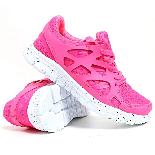 Ladies Mesh Running Trainers Air Tech Shock Absorbing Walking Fitness Gym Sports Shoes Fuchsia / White QYME2ViuoR