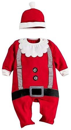 1d16c7097466e YCHENG Unisexe Baby Noël One Piece Déguisement Grenouillère Barboteuse  Bonnet Cosplay Combinaison Pyjama Christmas Ensemble Rouge