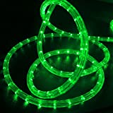 WYZworks 25 feet 1/2'' Thick GREEN Pre-Assembled LED Rope Lights with 10', 50', 100', 150' option - Christmas Holiday Decoration Lighting | UL Certified