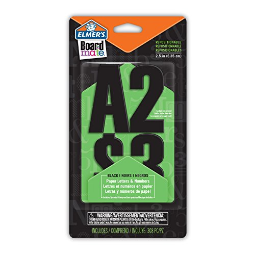 Elmer's E3069MQ Board Mate Repositionable Paper Letters and Numbers, 308 Glue and Stick Pieces, 2.5-Inch, Black