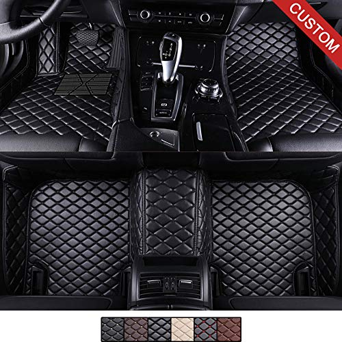 VEVAE Custom Car Floor Mats for Audi A7 2012-2018 Laser Measured Faux Leather, All Weather Full Surrounding Enclosure Waterproof Carpets XPE Car Liner (Black with Black Stitching)