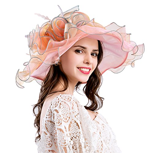 Women Foldable Organza Church Derby Hat Ruffles Wide Brim Summer Bridal Cap for Wedding Tea Party Beach (Orange) - Bridal Womens Hat