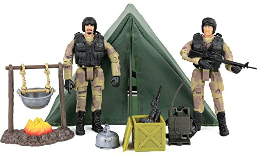 Division Figure Set (Click N' Play Military Life Camping Set 12 Piece Play Set With Accessories.)