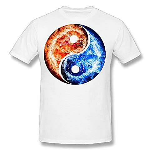 TIKE Men's Ice Of Fire Yin Yang Tai Chi Logo Short Sleeve Tshirt Color White Size XXL (Warrior Cat Necklace)