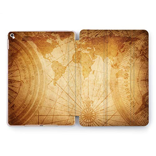 Wonder Wild Vintage Map Apple iPad Pro Case 9.7 11 inch Mini 1 2 3 4 Air 2 10.5 12.9 2018 2017 Design 5th 6th Gen Clear Smart Hard Cover World Cartography Meridian Parallel Wind Rose Direction Old -