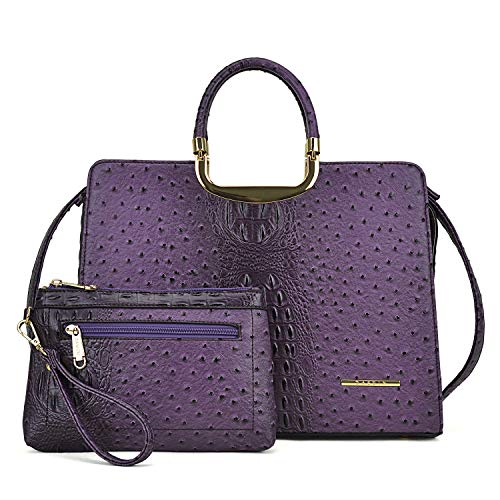 Fashion Vegan Leather Handbags for Women Satchel Tote Purse Shoulder Bag with Coin Wallet,Ostrich Leather-purple