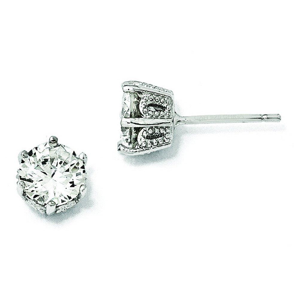 Sterling Silver 6.5mm Cz Stud Earrings