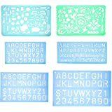 Set of 2 Artistic Drafting Templates and 4 ABC Lettering Stencil Plate by YOSOGO