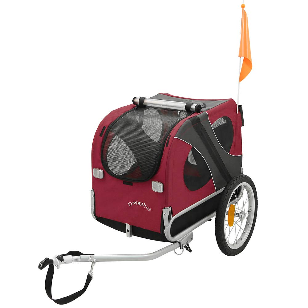 DOGGYHUT® Hundeanhänger Hunde Fahrradanhänger Hundetransporter-MEDIUM ROT 10115-01 Tiggo 10115-D01