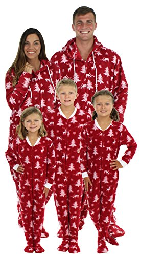 SleepytimePjs Family Matching Cranberry Deer Onesie PJs Footed Pajamas