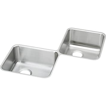 Elkay Lustertone ELUH3232 Equal Double Bowl Stainless Steel Corner Kitchen  Sink
