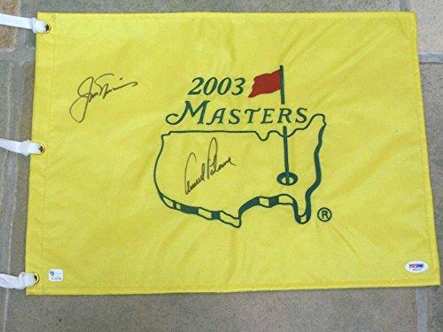 Jack Nicklaus Signed Masters - JACK NICKLAUS ARNOLD PALMER SIGNED MASTERS GOLF FLAG - PSA DNA AUTHENTIC