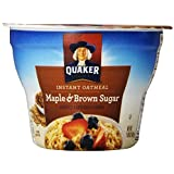 Quaker Instant Oatmeal Express Cups, Maple Brown Sugar, Breakfast Cereal, 1.69 oz Cups (Pack of 12) by Quaker