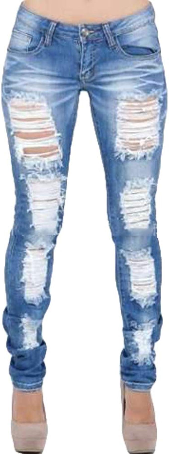 Hibote Mujer Cintura Baja Vaqueros Con Bolsillos Comodo Push Up Rotos Ocio Estilo Skinny Casual Jeans Mezclilla Pantalones Ropa S 2xl Vaqueros