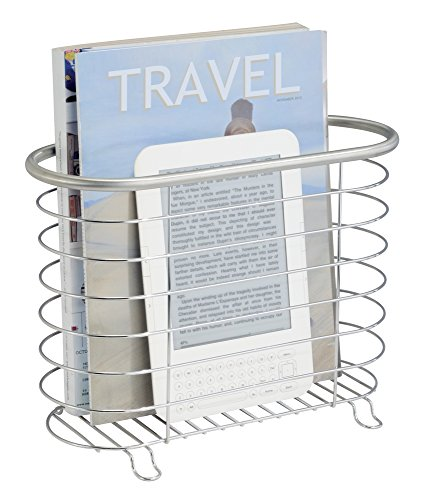 mDesign Decorative Modern Magazine Holder and Organizer Bin - Standing Rack for Magazines, Books, Newspapers, Tablets in Bathroom, Family Room, Office, Den - Brushed Stainless Steel Wire Design (Steel Holder Magazine Stainless)