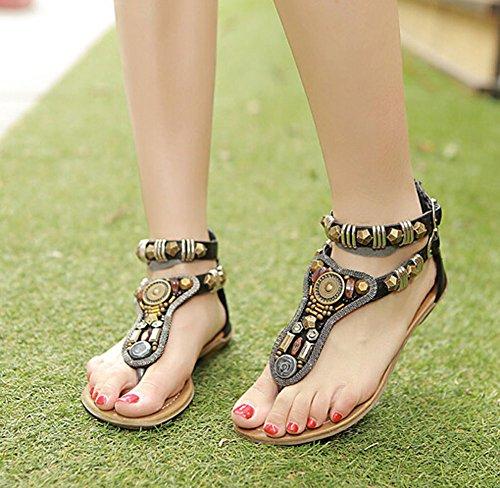 NEW 2014 Sommerweinlese -Rom-Flip-Flops Mode Frauen flache Sandalen Schuhe Frauen Hausschuhe schwarz