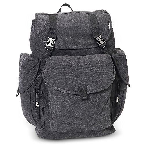 Everest Canvas Backpack - Large Color: Black