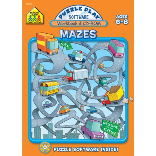 - School Zone Puzzle Play Workbook and CD-ROM Mazes for Ages 6-8