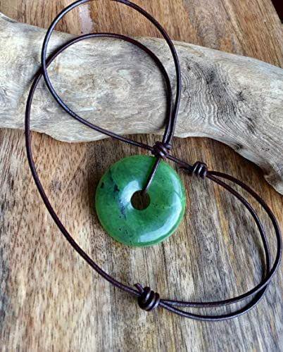 Jade Black Macram\u00e9 Crystal Necklace with Hemp cord