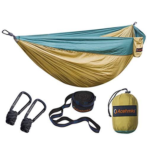 (Yoilsntsg Nylon Folding Hammock Ultralight Parachute Camping Swing Color Red Green Blue Orange with 2 Tree Straps Double Dark Green and Camel)