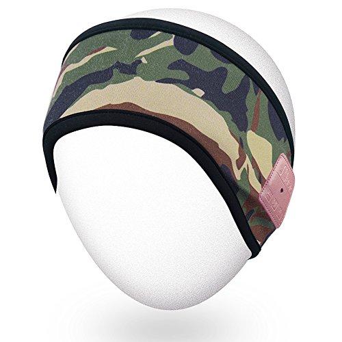 Rotibox Lightweight Bluetooth Headband Sweatband Speakerphone Headphone Headset Earphone w/Wireless Speaker and Microphone for Outdoor Running Hiking Skiing Camping, Jungle Camouflage