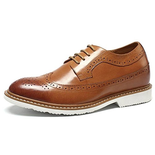 - CHAMARIPA Men's Invisible Height Increasing Elevator Shoes-Brown Genuine Leather Dress Brogue Shoes-2.56 Inches Taller DX60B06-1 9US